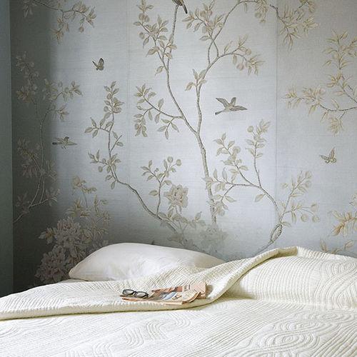 Traditional wallpaper / silk / floral / handmade CHINESE WINTER GARDEN Misha handmadewallpaper