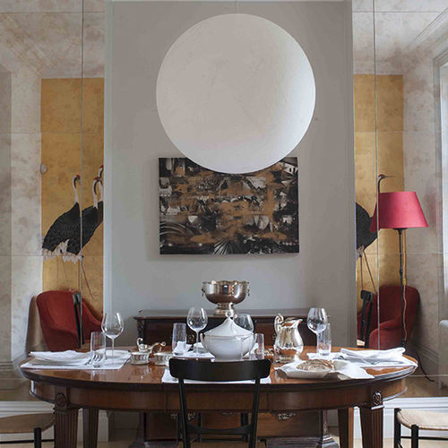 contemporary wallpaper / silk / abstract motif / hand-painted