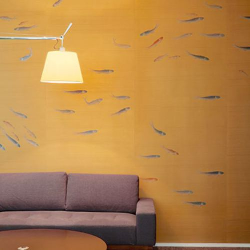 Traditional wallpaper / silk / animal motif / handmade FISH Misha handmadewallpaper