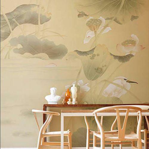 traditional wallpaper / silk / nature pattern / animal motif