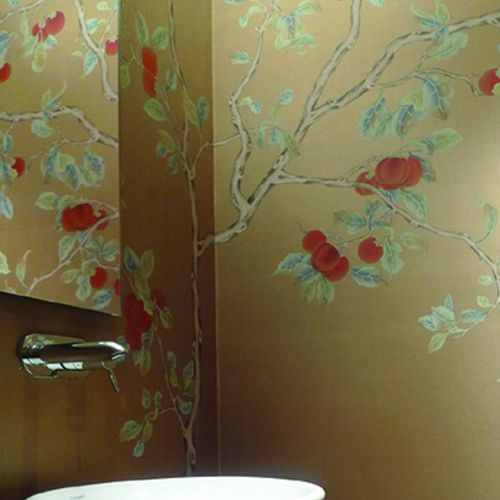 Oriental wallpaper / silk / floral / chinoiserie RED KAKI Misha handmadewallpaper