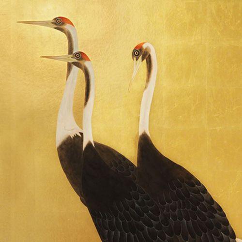 contemporary wallpaper / silk / animal motif / handmade
