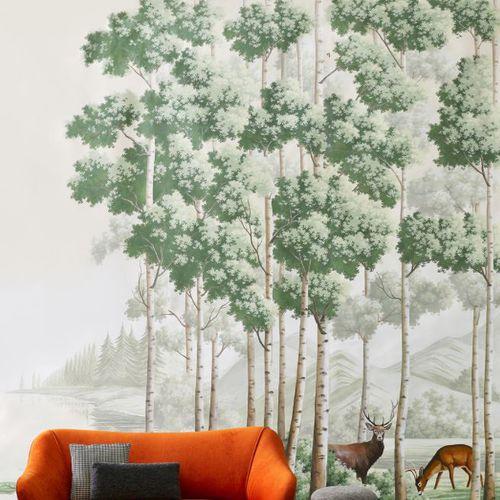 Traditional wallpaper / silk / chinoiserie / handmade THE AMBER ROUTE Misha handmadewallpaper