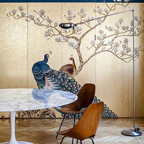 Oriental wallpaper / silk / floral / animal motif PEACOCK Misha handmadewallpaper