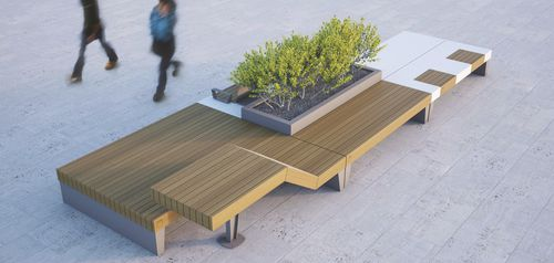 public bench / original design / wooden / steel