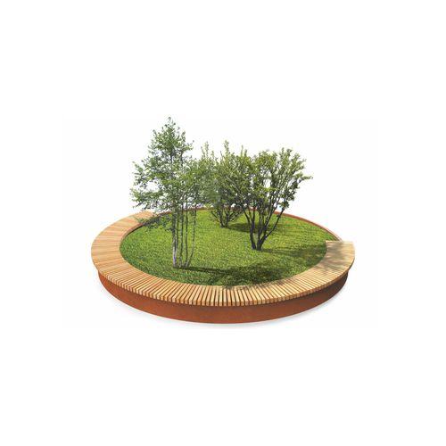 COR-TEN® steel planter / wooden / rectangular / round