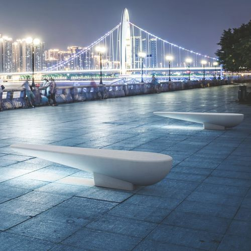 public bench / contemporary / stainless steel / stone