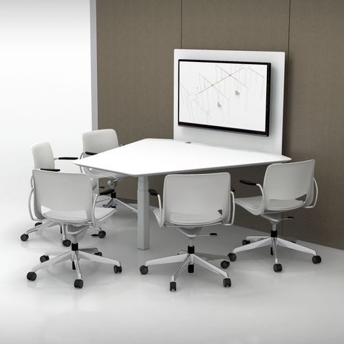 Contemporary boardroom table / for public buildings / with integrated electrical outlet / wall-mounted TEK PIER™ Teknion