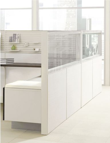 Floor-mounted office divider / countertop / glass / wooden LEVERAGE Teknion