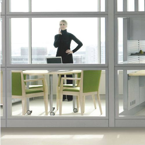 Removable partition / fixed / glazed / for offices LEVERAGE Teknion