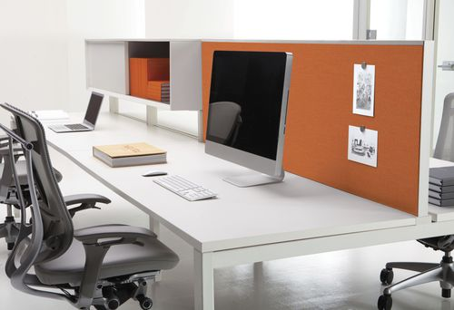 countertop office divider / glass / wooden / metal