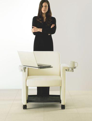contemporary lounge chair / fabric / aluminium / leather
