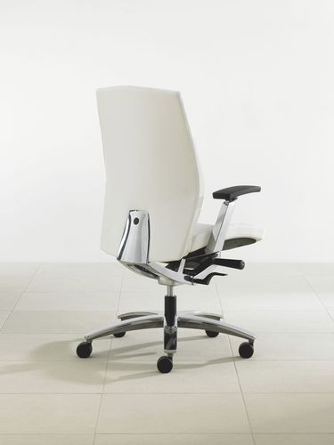 contemporary office armchair / aluminium / leather / on casters