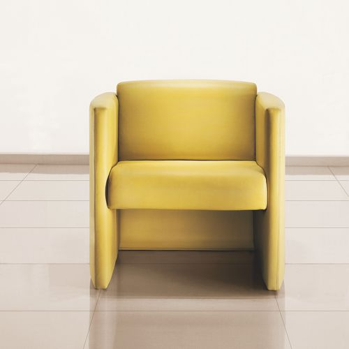 contemporary lounge chair / leather / with armrests / for public buildings