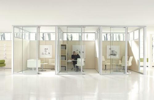 Removable partition / laminate / fabric / glazed ALTOS Teknion