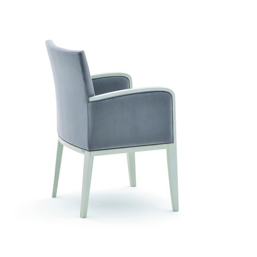 contemporary armchair / fabric / solid wood / upholstered