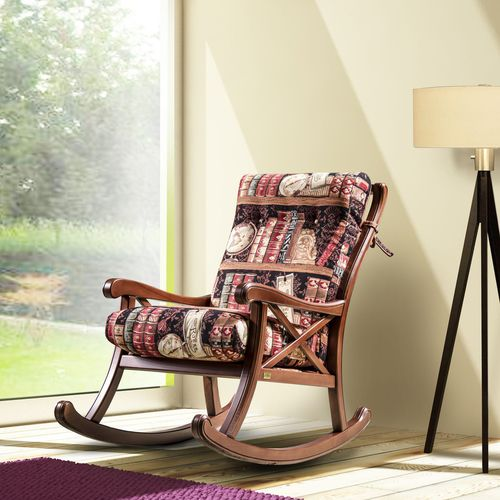 traditional armchair / fabric / wooden / with washable removable cover