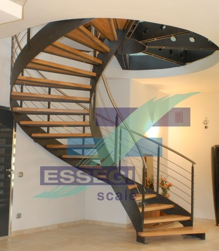 Helical staircase / metal frame / wooden steps / lateral stringer BEAUTIFULL G555 essegi scale