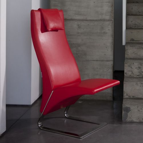 contemporary fireside chair / leather / high-back / with headrest