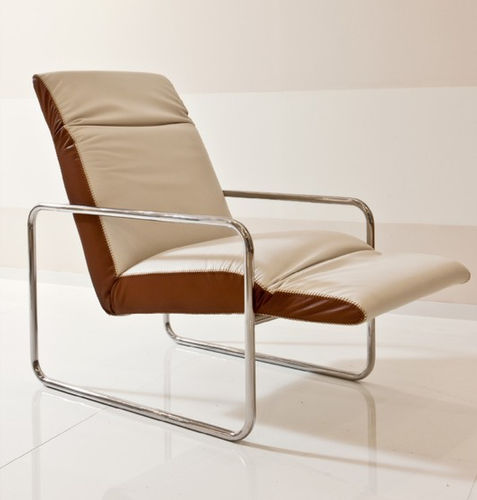 contemporary armchair / fabric / stainless steel / sled base