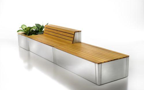 public bench / contemporary / teak / aluminum