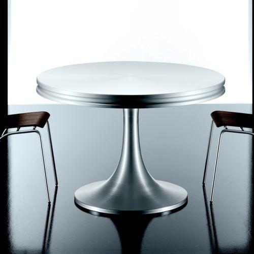 contemporary table / aluminum / round