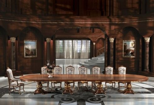 classic boardroom table / wooden / oval / contract