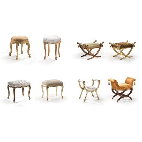 classic stool / wooden / upholstered / with armrests