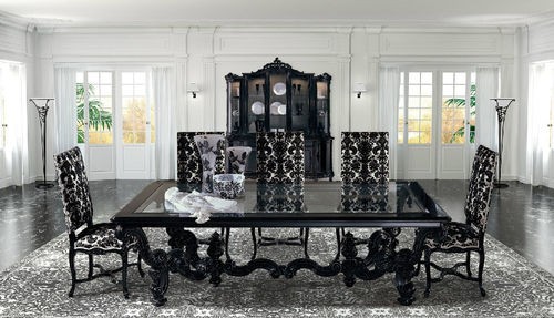 New Baroque design dining table / wooden / glass / rectangular