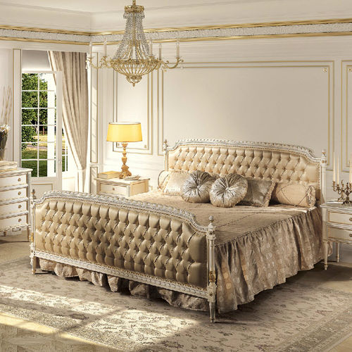 double bed / Louis XVI style / upholstered / with headboard