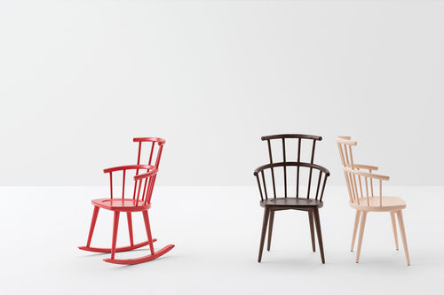 contemporary chair / rocker / lacquered wood / stained wood