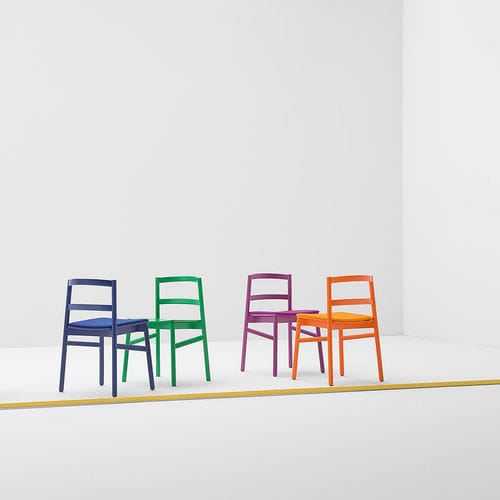 Scandinavian design chair / upholstered / lacquered wood / stained wood