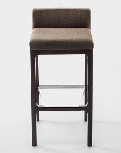 contemporary bar stool / solid wood / leather / fabric