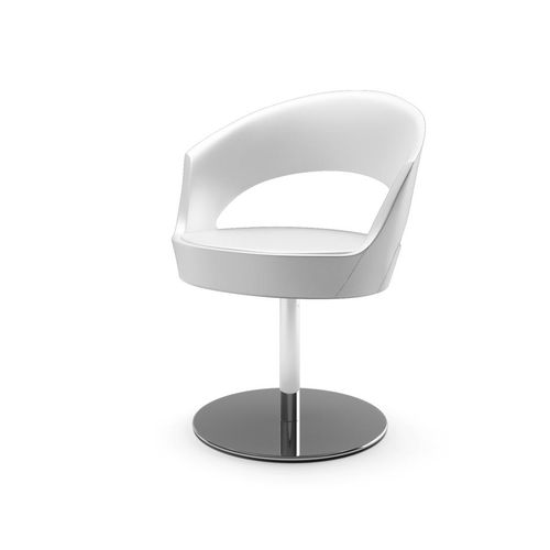 contemporary chair / central base / with armrests / upholstered