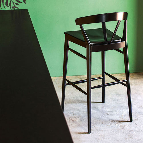 contemporary bar chair / with footrest / upholstered / standard base