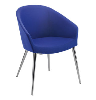 contemporary chair / with armrests / upholstered / standard base