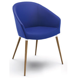 contemporary chair / upholstered / standard base / fabric
