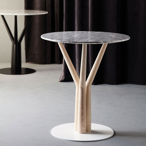 contemporary side table / ash / HPL / marble