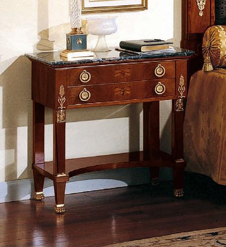 Empire style bedside table / walnut / rectangular