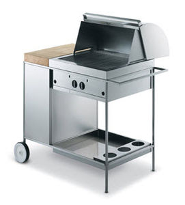 gas barbecue / with legs / stainless steel