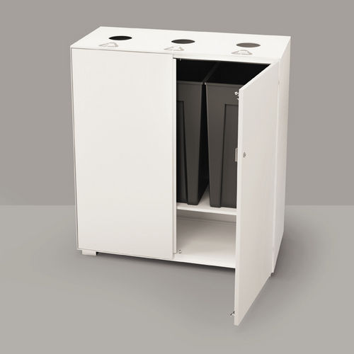 built-in trash can / steel / recycling / commercial
