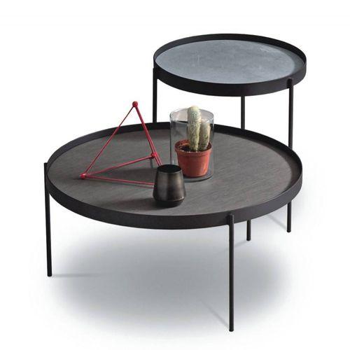 industrial design pedestal table / wooden / metal / concrete