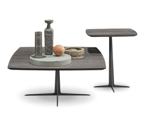 contemporary pedestal table / wooden / metal / rectangular