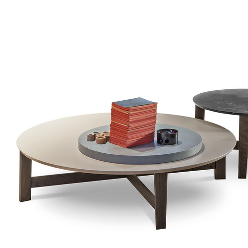 contemporary coffee table / solid wood / MDF / stone