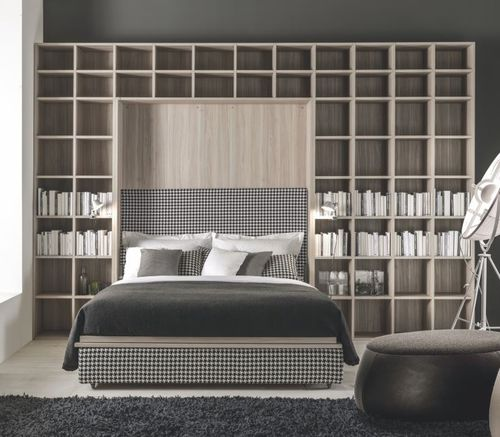 wall bed / double / contemporary / with shelves