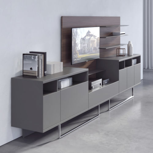 low filing cabinet / wood veneer / metal / glass