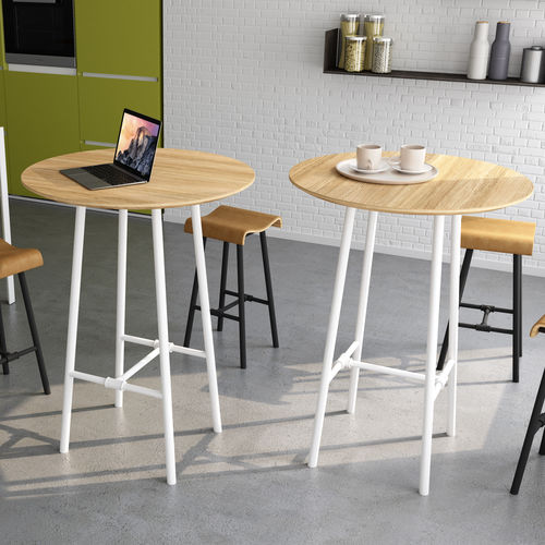 contemporary high bar table / solid wood / metal / round