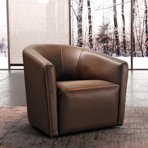 contemporary armchair / leather / brown