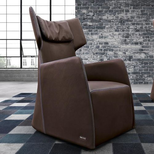 contemporary armchair / leather / wing / with headrest