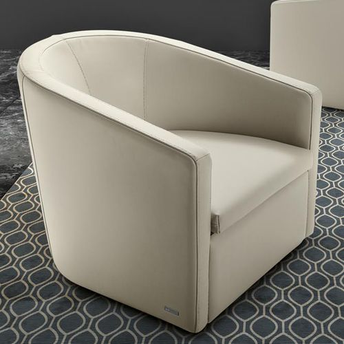 contemporary armchair / leather / beige